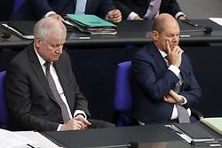 Germany, Berlin - July 4, 2018.German Bundestag.Horst Seehofer, CSU and Olaf Scholz, SPD (Credit Image: © Darmer/Davids/Ropi via ZUMA Press)