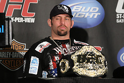 Mar 27, 2010; Newark, NJ, USA; Shane Carwin speaks at the UFC 111 post-fight press conference at the Prudential Center in Newark, NJ.