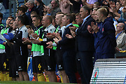 Managers and officials stand for two minutes for the passing of ex Blackburn Rovers Mike Ferguson who passed away  during the EFL Sky Bet Championship match between Blackburn Rovers and Millwall at Ewood Park, Blackburn, England on 14 September 2019.