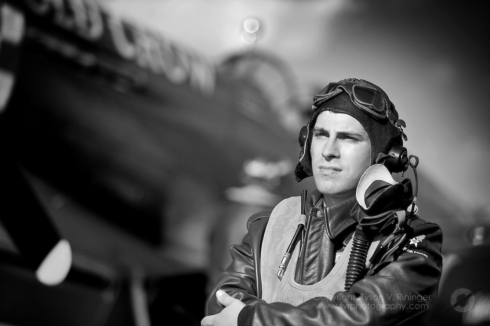 Warbird Re-enactor, Shane Van Linn makes use of Jack Roush's newest P-51B Mustang 'Old Crow' at EAA Airventure 2008.