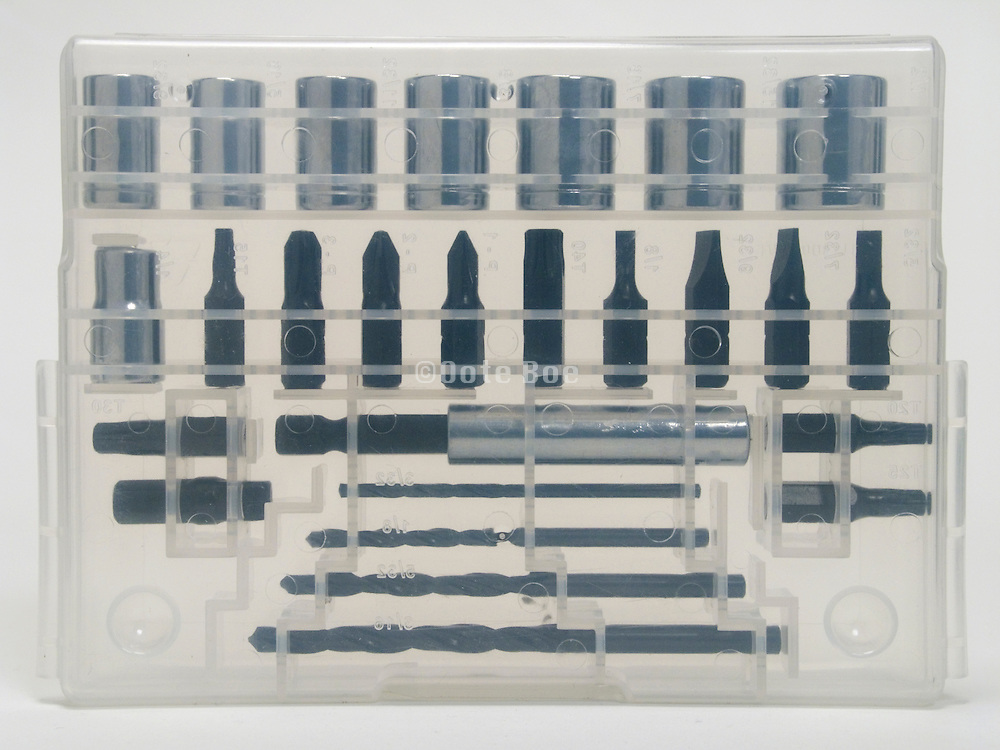 plastic transparent box set with various drill tools