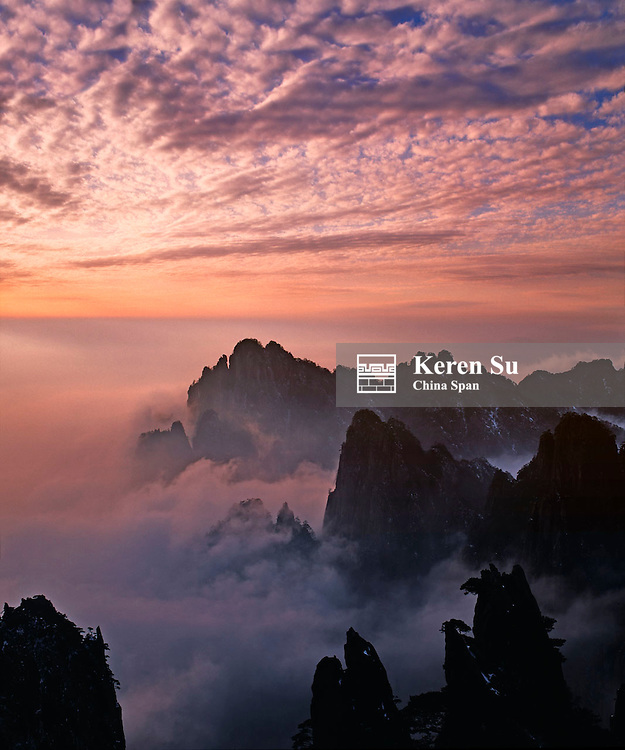Sunrise view of Mt. Huangshan (Yellow Mountain) in mist, Anhui Province, China