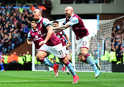 Gabriel Agbonlahor of Aston Villa celebrates his goal with Alan Hutton of Aston Villa  - Mandatory by-line: Joe Meredith/JMP - 23/04/2017 - FOOTBALL - Villa Park - Birmingham, England - Aston Villa v Birmingham City - Sky Bet Championship