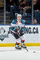 KELOWNA, CANADA - FEBRUARY 8:  Schael Higson #21 of the Kelowna Rockets skates with the puck against the Prince George Cougars on February 8, 2019 at Prospera Place in Kelowna, British Columbia, Canada.  (Photo by Marissa Baecker/Shoot the Breeze)