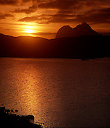 Sunset over the Cam Loch near Elphin and ben Suilven, N/W Highlands.