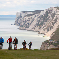 Mountain Biking Afton Down, Freshwater Bay, Tennyson Down, Isle of Wight, England, UK, photography photograph canvas canvases