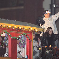 Feb 09, 2010; New Orleans, LA, USA; New Orleans Saints head coach Sean Payton holds up the Vince Lombardi Trophy during the Super Bowl celebration parade for the New Orleans Saints 31-17 victory over the Indianapolis Colts in Super Bowl XLIV as the parade passed through the downtown streets of New Orleans, Louisiana.  Mandatory Credit: Derick E. Hingle-US-PRESSWIRE