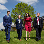 05.05. 2017.                                                 <br /> JP McManus today announced a further &euro;32 million investment in Third Level Education Scholarships for eligible students throughout Ireland, North and South. He was joined by the Minister for Education &amp; Skills, Richard Bruton T.D. and former All Ireland Scholarship recipients to make the announcement in Adare, Co Limerick. <br /> <br /> Pictured at the event in the Dunraven Arms were, Dylan Carroll, Parteen Co. Clare, 2012 scholarship recipient, Minister for Education &amp; Skills, Richard Bruton T.D., Rachel Lavin, Kilrane Co. Wexford, 2010 Scholarship recipient and JP McManus. Picture: Alan Place.