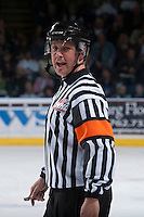 KELOWNA, CANADA - APRIL 5: Nathan Wieler, WHL referee, makes a call at the Kelowna Rockets as they host the Seattle Thunderbirds on April 5, 2014 during Game 2 of the second round of WHL Playoffs at Prospera Place in Kelowna, British Columbia, Canada.   (Photo by Marissa Baecker/Getty Images)  *** Local Caption *** Nathan Wieler;