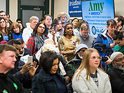 19 JANUARY 2020 - DES MOINES, IOWA: People listen to Senator Amy Klobuchar (D-MN) during a campaign event at Urban Dreams in Des Moines. Sen. Klobuchar brought her presidential campaign to Urban Dreams, a community empowerment center in central Des Moines. Iowa hosts the first event of the presidential selection process in February. The Iowa Caucuses are Feb. 3, 2020.         PHOTO BY JACK KURTZ