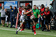 Dug Codjo of Oyonnax and Toby Carter Arnold of Lyon during the French Championship Top 14 Rugby Union match between US Oyonnax Rugby and Lyon OU on April 28, 2018 at Charles Mathon stadium in Oyonnax, France - Photo Romain Biard / Isports / ProSportsImages / DPPI