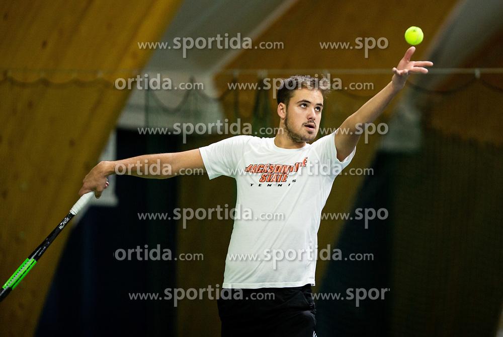 Aljaz Jakob Kaplja playing final match during Slovenian men's doubles tennis Championship 2019, on December 29, 2019 in Medvode, Slovenia. Photo by Vid Ponikvar/ Sportida