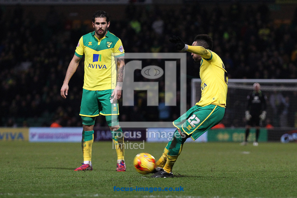 Nathan Redmond of Norwich scores his sides 4th goal from a free kick during the Sky Bet Championship match at Carrow Road, Norwich<br /> Picture by Paul Chesterton/Focus Images Ltd +44 7904 640267<br /> 07/02/2015
