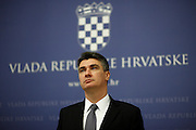Croatian Prime Minister Zoran Milanovic during press conference.