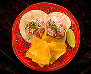 Various tuna, octopus and shrimp tacos