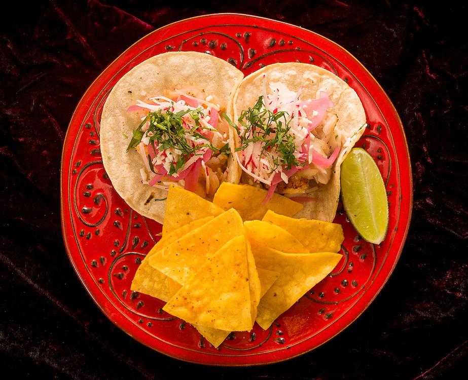 Various tuna, octopus and shrimp tacos