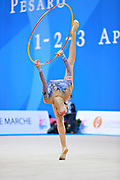 "Basta Anna during hoop routine at the International Tournament of rhythmic gymnastics ""Città di Pesaro"", 01 April, 2016. Anna is an Italian gymnast, born on January 23, 2000 in Bologna.<br />