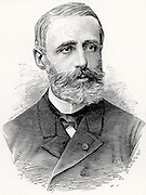 (Raymond) Gaston Plante (1834-1889) French physicist who in 1859 invented the first accumulator or electric storage battery.  It was a wet cell with two lead plates immersed in sulphuric acid, the electrolyte. Engraving from 'A travers l'Electricite' by Georges Dary (Paris, c1906) .