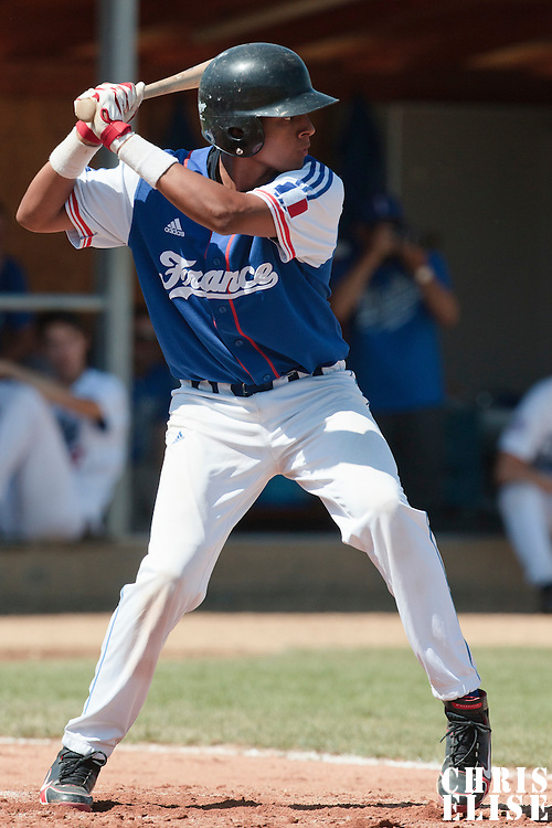 20 August 2010: Andy Paz Garriga is seen at bat during France 6-5 win over Italy, at the 2010 European Championship, under 21, in Brno, Czech Republic.