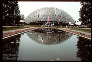 Climatron and reflecting pool, Missouri Botanical Garden in St. Louis. Missouri