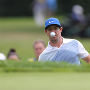 Rory McIlroy chips out of the bunker on the eleventh hole during the third round of theThe Barclays Golf Tournament at The Ridgewood Country Club, Paramus, New Jersey, USA. 23rd August 2014. Photo Tim Clayton