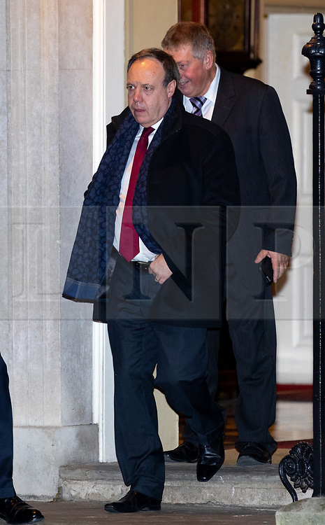 © Licensed to London News Pictures. 07/01/2019. London, UK. Deputy Leader of the Democratic Unionist Party (DUP) Nigel Dodds (centre) leaving 10 Downing Street after attending a drinks reception in Number 10. British Prime Minister Theresa May is currently trying to persuade MPs to back her Brexit withdrawal deal. MPs will be debating the issue this week, with the postponed vote taking place on Tuesday 15th January. Photo credit : Tom Nicholson/LNP