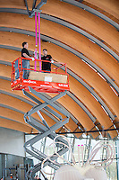 BENTONVILLE, AR: FEBRUARY 11;  Crew of workers from Germany work to unwrap and install a new exhibit at Crystal Bridges Museum of American of, HEART by artist Jeff Koons in Bentonville, Arkansas on February 11, 2014.<br /> CREDIT: Wesley Hitt for the Wall Street Journal.<br /> KOONSHEARTBENTONVILLE, AR: FEBRUARY 11;  Crew of workers from Germany work to unwrap and install a new exhibit at Crystal Bridges Museum of American of, HEART by artist Jeff Koons in Bentonville, Arkansas on February 11, 2014.<br /> CREDIT: Wesley Hitt for the Wall Street Journal.<br /> KOONSHEART
