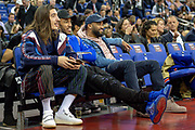Hector Bellerin of Arsenal (left), Pierre-Emerick Aubameyang of Arsenal (middle) and Alexandre Lacazette of Arsenal during the NBA London Game match between Washington Wizards and New York Knicks at the O2 Arena, London, United Kingdom on 17 January 2019.