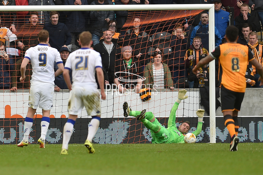 Hull City goalkeeper Allan McGregor (1) saves penalty by  Chris Wood (9) during the Sky Bet Championship match between Hull City and Leeds United at the KC Stadium, Kingston upon Hull, England on 23 April 2016. Photo by Ian Lyall.