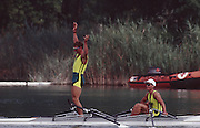 .Barcelona Olympic Games 1992.Olympic Regatta - Lake Banyoles.AUS LM2X - Peter Antonie..       {Mandatory Credit: © Peter Spurrier/Intersport Images]..........       {Mandatory Credit: © Peter Spurrier/Intersport Images]..........       {Mandatory Credit: © Peter Spurrier/Intersport Images].........