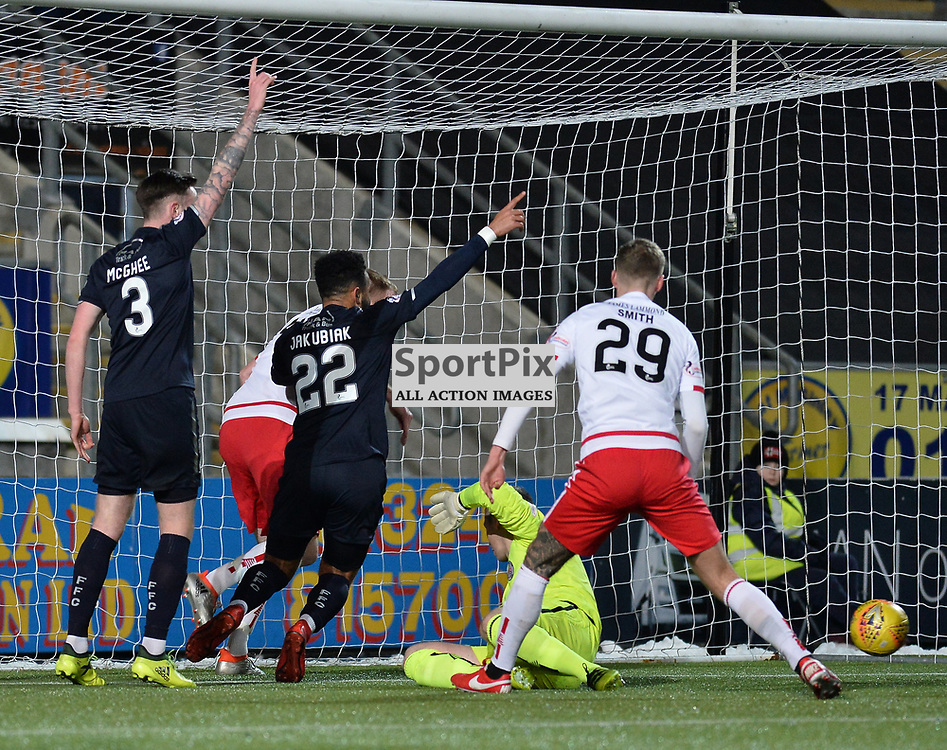 Alex Jakubiak (Falkirk) slots home Falkirk's first goal during the Scottish Championship match between Falkirk and Brechin City at the Falkirk Stadium.<br /> <br /> <br /> (c) Dave Johnston | SportPix.org.uk