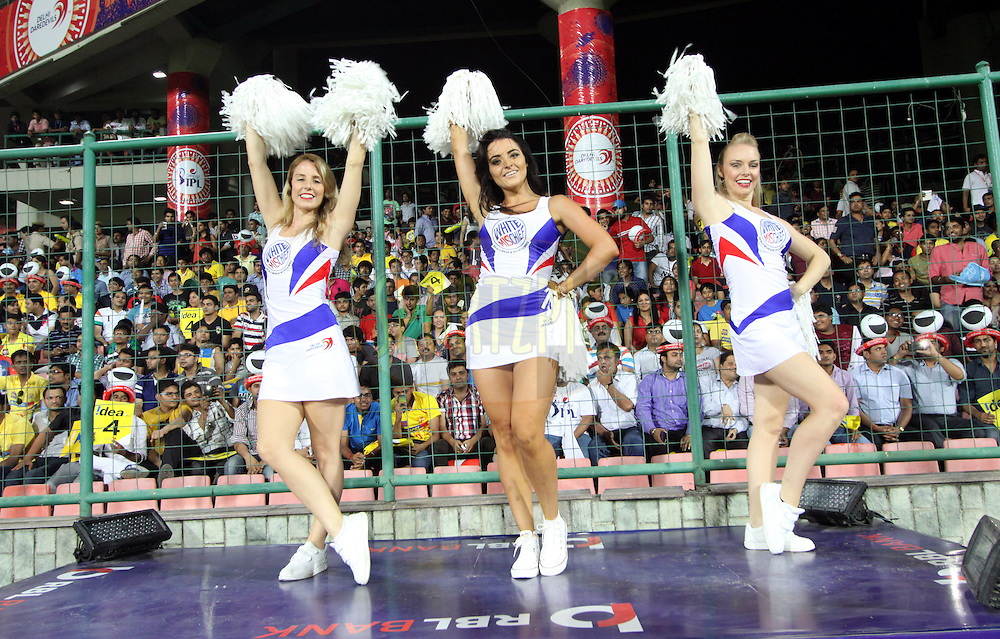 Delhi Daredevils cheerleaders performed during match 26 of the Pepsi Indian Premier League Season 2014 between the Delhi Daredevils and the Chennai Superkings held at the Ferozeshah Kotla cricket stadium, Delhi, India on the 5th May  2014<br /> <br /> Photo by Arjun Panwar / IPL / SPORTZPICS<br /> <br /> <br /> <br /> Image use subject to terms and conditions which can be found here:  http://sportzpics.photoshelter.com/gallery/Pepsi-IPL-Image-terms-and-conditions/G00004VW1IVJ.gB0/C0000TScjhBM6ikg