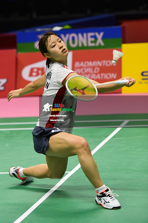 BANGKOK, THAILAND - MAY 25: Nozomi Okuhara of Japan in action on Court 1 during her Semi-Finals match against Lee Jang Mi of South Korea at the BWF Total Thomas and Uber Cup Finals 2018, Impact Arena , Bangkok, Thailand on May 25, 2018.<br /> .<br /> .<br /> .<br /> Photo by: Naratip Golf Srisupab/SEALs Sports Images<br /> <br /> .<br /> All photo must include a credit line adjacent to the content: Naratip Golf Srisupab/SEALs Sports Images
