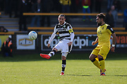 Forest Green Rovers Liam Noble(15) clears the ball forward during the Vanarama National League match between Southport and Forest Green Rovers at the Merseyrail Community Stadium, Southport, United Kingdom on 17 April 2017. Photo by Shane Healey.