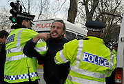 Pictures by Mark Larner. Pictures show anti right-wing protesters and police near Westminster. 5th March 2010...Anti-fascist demonstrators scuffled with police Friday in a protest against Dutch politician Geert Wilders, who brought his film denouncing Islam and the Quran to Britain's august House of Lords.