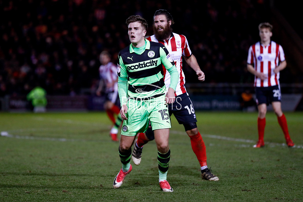 Forest Green Rovers midfielder Charlie Cooper (15) in action  during the EFL Sky Bet League 2 match between Lincoln City and Forest Green Rovers at Sincil Bank, Lincoln, United Kingdom on 30 December 2017. Photo by Simon Davies.