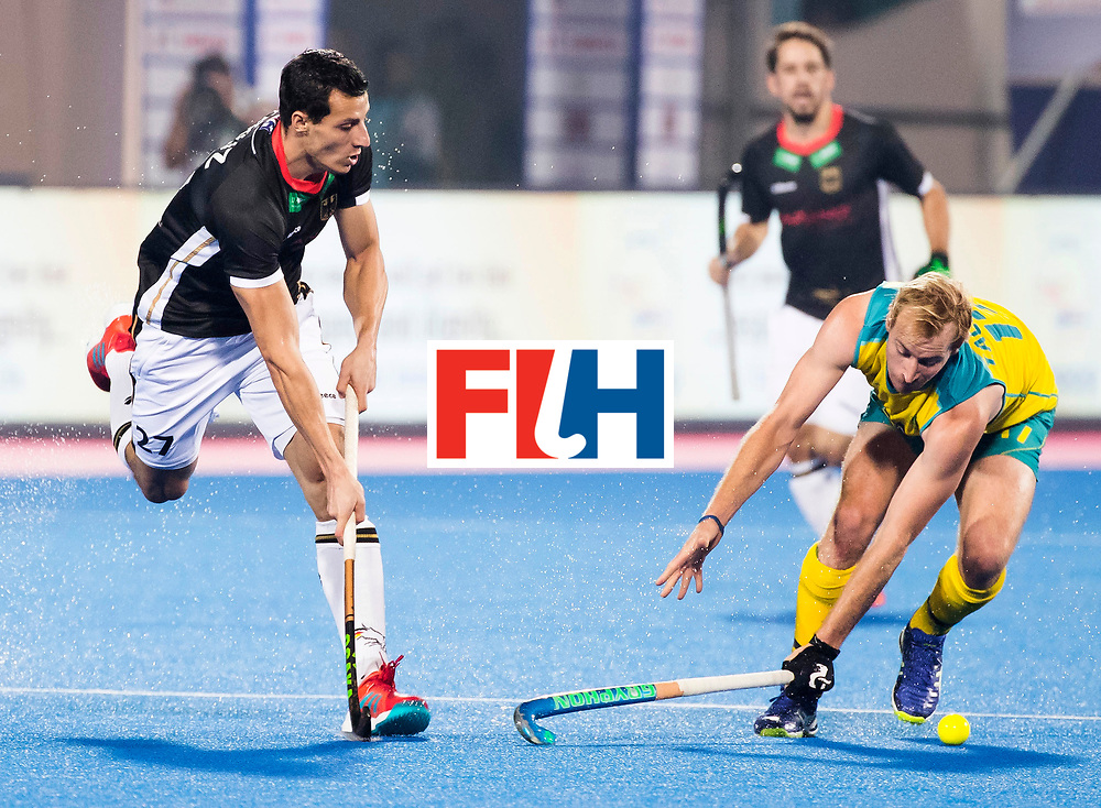 BHUBANESWAR - The Odisha Men's Hockey World League Final . Match ID 05 . Germany  v Australia . Timur Oruz (Ger) with Aran Zalewski (Aus) .  WORLDSPORTPICS COPYRIGHT  KOEN SUYK