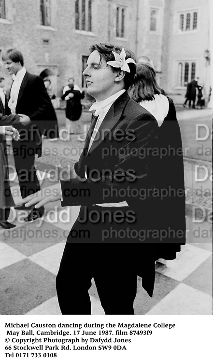 Michael Causton dancing during the Magdalene College May Ball, Cambridge. 17 June 1987. film 87493f9<br /> © Copyright Photograph by Dafydd Jones<br /> 66 Stockwell Park Rd. London SW9 0DA<br /> Tel 0171 733 0108