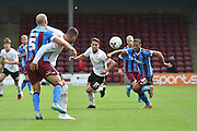 Jordan Clarke  during the Sky Bet League 1 match between Scunthorpe United and Crewe Alexandra at Glanford Park, Scunthorpe, England on 15 August 2015. Photo by Ian Lyall.