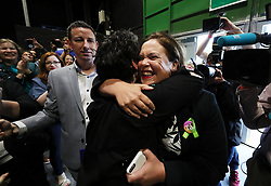 Sinn Fein leader Mary Lou McDonald is embraced on arrival at the count centre in Dublin's RDS as votes are counted in the referendum on the 8th Amendment of the Irish Constitution which prohibits abortions unless a mother's life is in danger. Picture date: Saturday May 26, 2018. See PA story IRISH Abortion. Photo credit should read: Brian Lawless/PA Wire