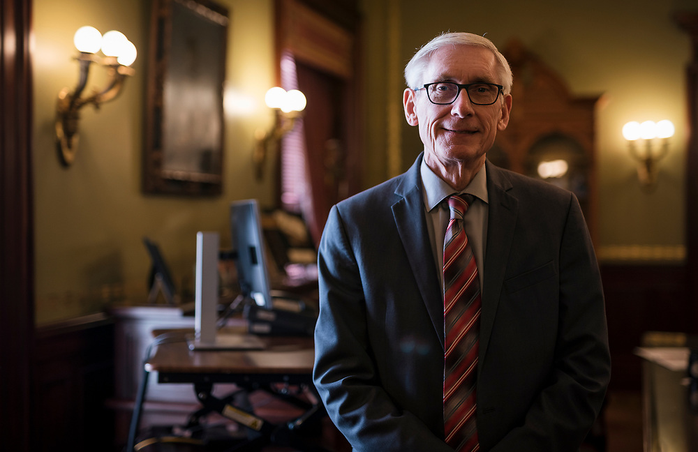 Wisconsin Governor Tony Evers (D) poses for a portrait inside his Capitol Office in , on Monday, Dec. 23, 2019.