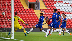 LIVERPOOL, ENGLAND - Tuesday, May 8, 2018: Liverpool's Bobby Adekanye scores the second goal during the Under-23 FA Premier League 2 Division 1 match between Liverpool FC and Chelsea FC at Anfield. (Pic by David Rawcliffe/Propaganda)