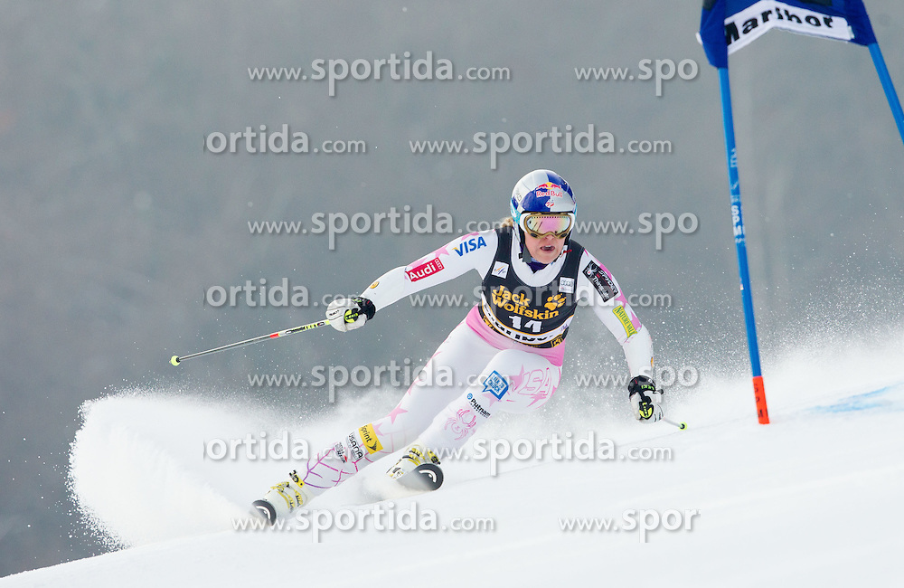 "VONN Lindsey of USA competes during 1st Run of FIS Alpine Ski World Cup 7th Ladies' Giant Slalom race named ""49th Golden Fox 2013"", on January 26, 2013 in Mariborsko Pohorje, Maribor, Slovenia. (Photo By Vid Ponikvar / Sportida.com)"