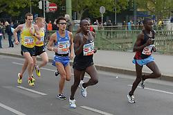 13.04.2014, Wien, AUT, Vienna City Marathon 2014, im Bild (mitte) Ryo Yamamoto, JPN (#9), gefolgt von Oleksandr Sitkovskyy, UKR (#11), Aleksey Reunkov, RUS (#13) // during Vienna City Marathon 2014, Vienna, Austria on 2014/04/13. EXPA Pictures © 2014, PhotoCredit: EXPA/ Gerald Dvorak