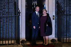 London, UK. 3 December, 2019. Erna Solberg, Prime Minister of Norway, arrives with her husband Sindre Finnes for a reception for NATO leaders at 10 Downing Street on the eve of the military alliance's 70th anniversary summit at a luxury hotel near Watford.