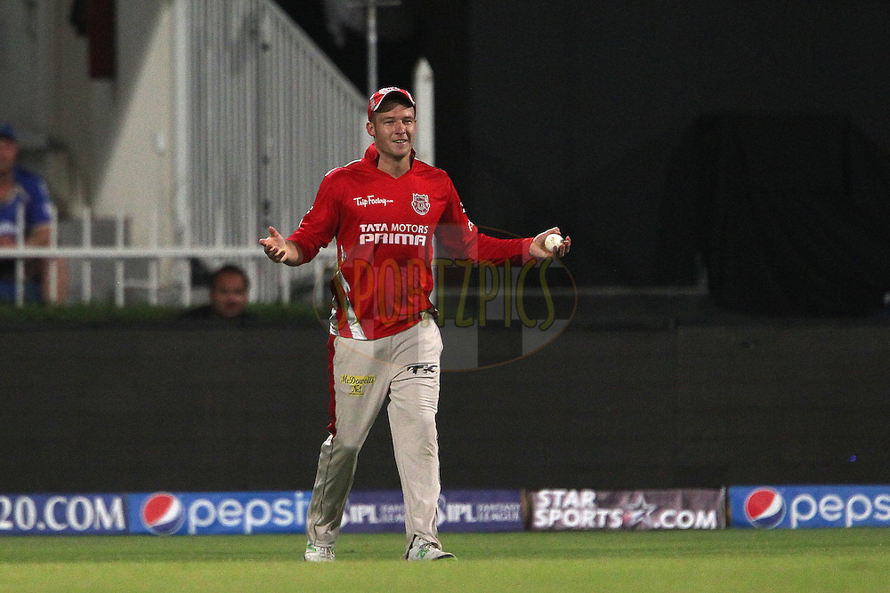 David Miller takes the catch to dismiss Stuart Binney during match 7 of the Pepsi Indian Premier League 2014 between the Rajasthan Royals and The Kings XI Punjab held at the Sharjah Cricket Stadium, Sharjah, United Arab Emirates on the 20th April 2014<br /> <br /> Photo by Ron Gaunt / IPL / SPORTZPICS