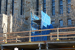 Sterling Memorial Library SML Tech Services Construction Progress. First Photo Submission. York Street West Elevation Scaffolding.