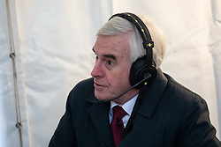 © Licensed to London News Pictures. 13/12/2018. London, UK. Shadow Chancellor of the Exchequer John McDonnell speaks to media in College Green. Yesterday, British Prime Minister Theresa May won the backing of her party to stay on as Prime Minister, following a vote of no confidence. Photo credit : Tom Nicholson/LNP