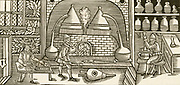 'Laboratory scene: Compounding a balsam, an aromatic prepartion for healing wounds or soothing skin complaints. Centre,furnace with alembics, left man preparing leaves, right pounding with pestle and mortar. Woodcut c1570.'