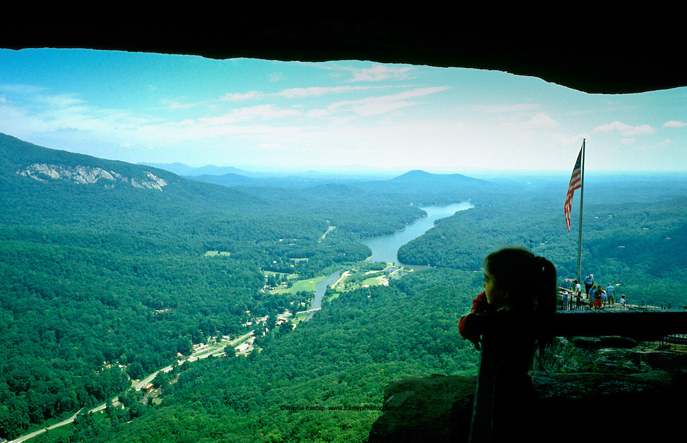 view of Lake Lure from Chimney Rock Park, North Carolina